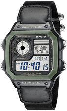 Casio Men's Digital 100m 10-Yr Battery Black Resin / Canvas Watch AE1200WHB-1B