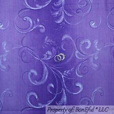 BonEful Fabric FQ Cotton Quilt Purple Scroll Swirl Tone Shade Stripe Flower Leaf