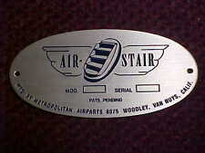 Douglas DC-3 Aircraft & Boeing 247 door & stair serial & data plate 1930s & 40s