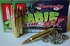 """Replica .223 Rem. Brass Bullet Necklace w/Hornady Z-MAX Bullet & 24"""" tag chain."""