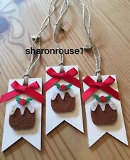 3 X Christmas Pudding Gift Tags Deco Handmade Shabby Chic Real Wood