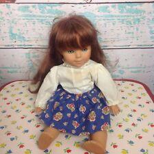 Vintage Goebel Doll Girl Brunette Engel Puppe Blue Eyes West Germany Toy Plastic