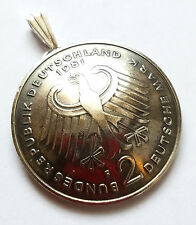 German Coin Pendant 2 Deutsche Mark Eagle Vintage Germany Necklace Jewelry Gift