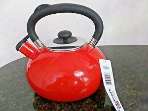 NEW Cuisinart Porcelain Enamel on Steel Whistling Tea Kettle, Red