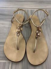 Giuseppe Zanotti Gold Leather Rhinestone Embellished Flat Sandals sz 37 7