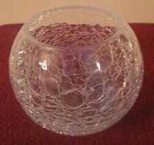 Vintage Large Candle Holder Clear Crackle Glass Candelabra Lantern Lamp Light