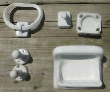 Vtg 1930 40s Porcelain Bathroom Shower Tumbler Soap Dish Towel Bar Fixtures Lot