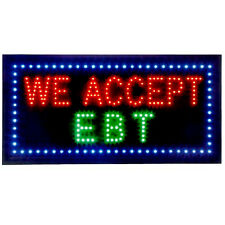 Business LED Window Sign 20 x 9 inch Restaurant Market - We Accept EBT Chain