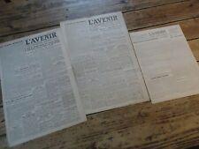 3 JOURNAUX CLANDESTINS RESISTANT JUIN 1944 L' AVENIR INSURRECTION BARBARIE