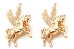 Horse Brooch Winged Pegasus Lapel Pin Badge x 2 Gold Coloured Equestrian Pony