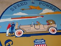 "VINTAGE 1934 UNION OIL COMPANY SPEED POWER GASOLINE 11 3/4"" PORCELAIN METAL SIGN"