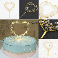 Happy Birthday LED Love Heart Star Crown Topper Cake Baking Shiny Party Decors
