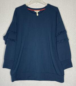 Matilda Jane Medium Women's Cider Boyfriend Sweatshirt Deep Blue