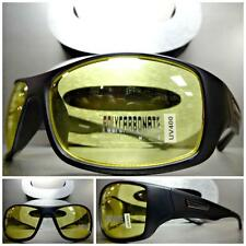 BIKER SPORT HUNTING Day Night DRIVING Yellow Lens SUN GLASSES Matte Black Frame