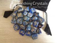 Lapis Lazuli Runes Set for reiki healing with stylish pouch rune set