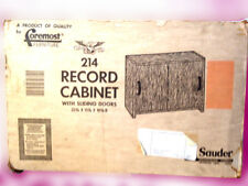 VINTAGE PECAN Record Cabinet UNASSEMBLED IN BOX! Sliding Doors OPENED JUST TODAY