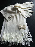 BNWT Ladies Teenage Girls BHS Brand Soft Cream Beaded Gloves Scarf Beanie Set