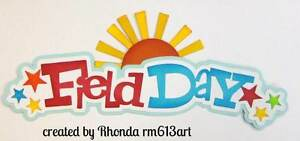 Field Day School Title paper piecing premade scrapbook page Rhonda rm613art
