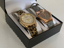 NEW! XOXO GOLD DIAL CHEETAH PRINT STRAP & ROSE GOLD DIAL TAUPE LEATHER WATCH SET