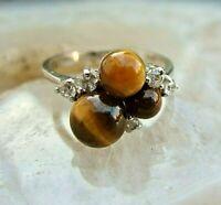 anmutiger ring silber 925 mit tigerauge und steinchen- selten 90er 16mm