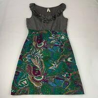 Maeve Anthropologie Women's Size 12 Dress Multicolor Paisley Print Silk Bodice