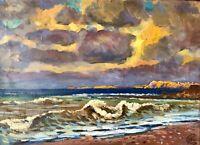 painting Ukranian landscape impressionism vintage sea decor sunset Kolomoitsev