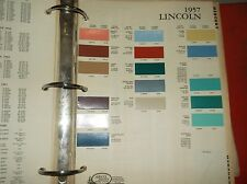 1957 Lincoln Color Chip Sheet Brochure