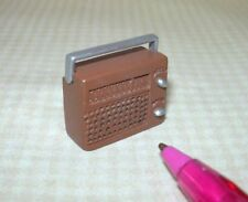 Miniature Brown Metal Radio w/Silver Swing Handle and Knobs: Miniatures 1:12