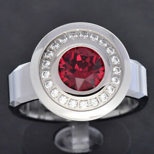 White Tungsten Mens Band Stainless Steel Disk Halo CZ Red Round Crystal Ring TR