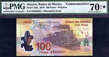 13-01178 # MEXICO |COMM,POLYMER MICROPRINT ERROR,100 PESOS, 2010,PMG 70* GEM UNC
