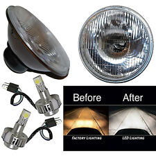 "7"" Stock Glass Lens / Metal Headlight LED 6000K 18/24w Light Bulb Headlamp Pair"