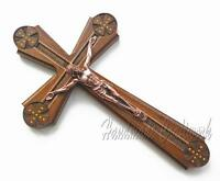 UNIQUE!!! Catholic Carved Wooden Wall Cross Crucifix with *JESUS CHRIST*  #15-4