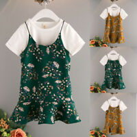 2PC Toddler Baby Girl Kid Clothes T-Shirt Tops Casual Overall Dress Outfits 2-6T