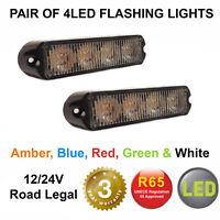 Amber, Red, White, Blue, Green Grill LED Strobes Flashing lightbar beacon 12/24v
