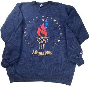 VINTAGE 1996 ATLANTA OLYMPICS ALL OVER PRINT CHAMPION SWEATER SWEATSHIRT SZ XXL