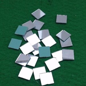 50 Mosaic Glass Shisha Mirrors 7mm Square for Embroidery Quilting Cardmaking- M5
