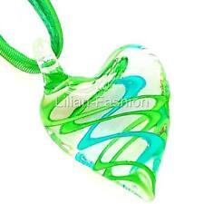 Green Aqua Swirl Heart Lampwork Glass Murano Bead Pendant Ribbon Cord Necklace