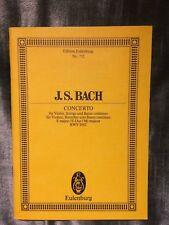 Bach Concerto en Mi BWV 1042 partition orchestre conducteur Eulenburg 712