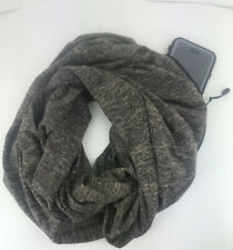 Convertible Infinity Scarf, Hidden Pocket Zipper Pocket Travel Scarf Sable Brown