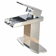 Aquafaucet Modern Single Handle Waterfall Bathroom Sink Faucet Chrome Finish