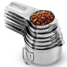 [7-Piece] Stainless Steel Measuring Cups - Made of 1 Solid Piece 18/8 Stainless