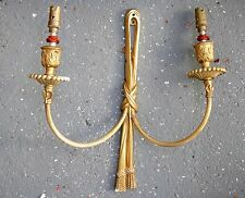 Antico Candelabri A Muro Parete, francese, rococò, CAST OTTONE doppio braccio Candelieri