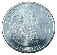 Australia 2013 Centenary of Canberra 20c Twenty Cents UNC Coin Carded