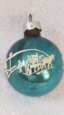 Vtg Blue Mercury Glass Ball Christmas Tree Ornament USA White Stenciled Horse