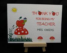 Personalised Handmade Thank You Card - Best Teacher, Nursery, Nanny, Childminder