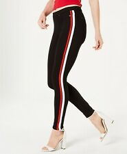 HUE Womens Racer Stripe Original Denim Leggings Size Large Black - $44 - NWT