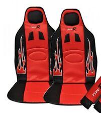 Set 2 Coprisedili Coppia Schienali Racing Universali Auto Rossi Sportivi linq