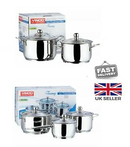 Stainless Steel  Casserole Induction Friendly, Extra Deep, with Glass Lids
