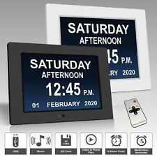 "8"" Digital Day Clock LED Calendar Dementia Alarm Time Date Month Year Wall Clock"