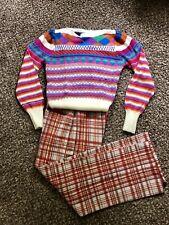 Vintage 70s Polyester Plaid Pants 26-32 X 27 13 Rise Brady Bunch Hippy